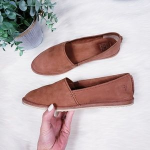 Frye cognac suede slip on shoes